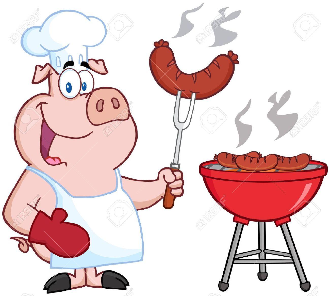 18134754 bonne cook chef de porc au barbecue banque d images